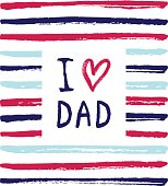 Vector I love you Dad phrase with a heart.