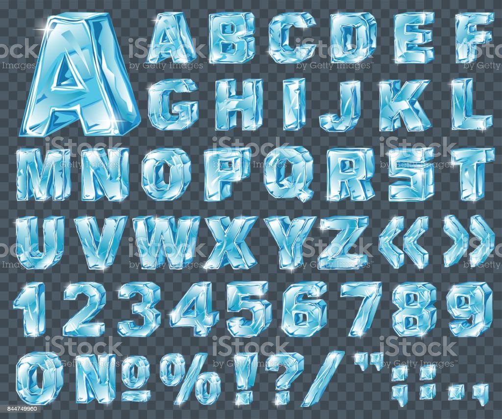Vector ice alphabet. Ice letters and numerical symbols