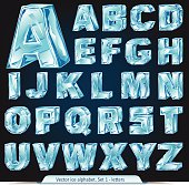 Vector ice alphabet. Letters