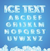 Vector illustration ice alphabet on blue background and ice the cubes in the bottom.