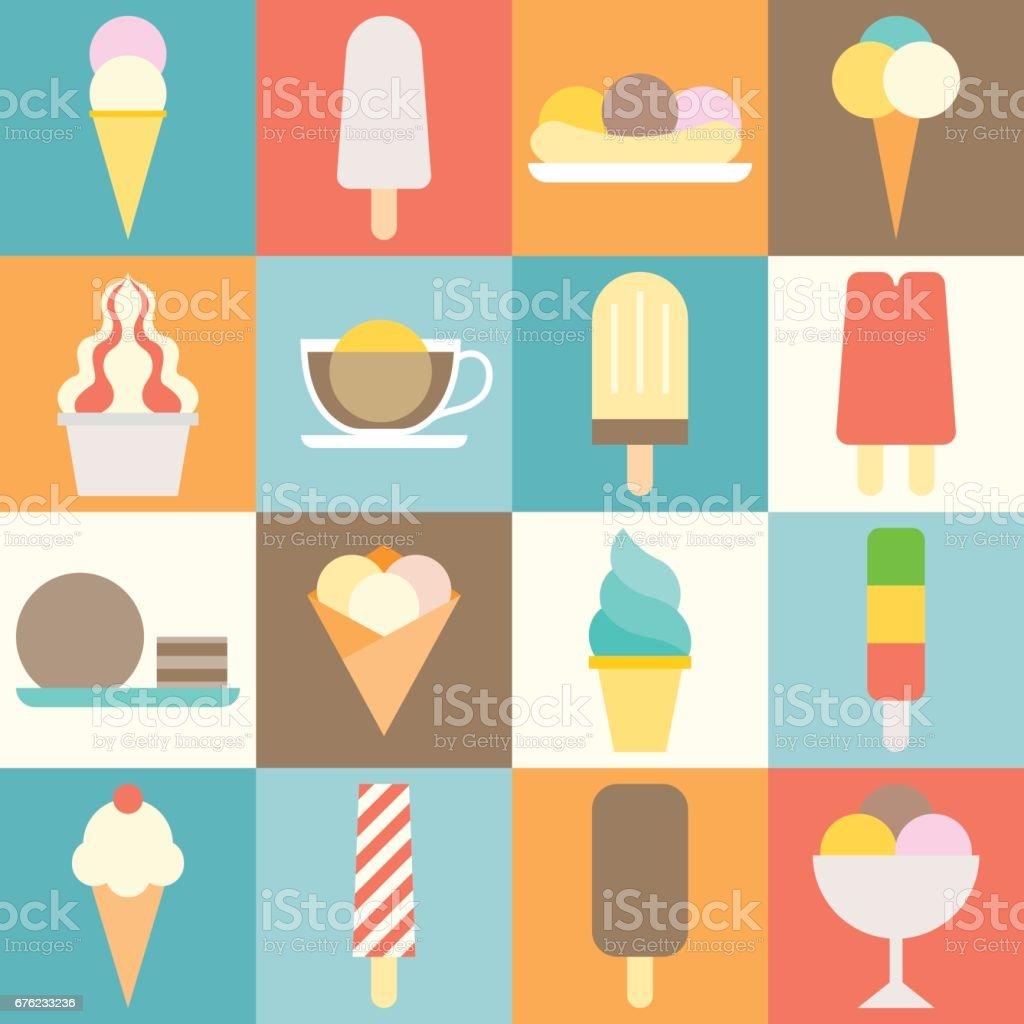 vector ice cream icon shop flat design vector art illustration