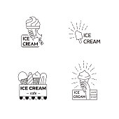 Ice cream label, badge design template. Food vector line art illustration.