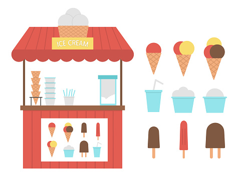 Vector ice cream stall with menu. Flat ice-cream stand illustration. Flat beach dessert shop. Cute summer picture for kids.