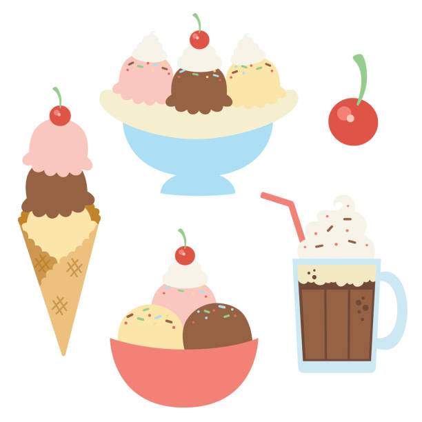 Vector Ice Cream Sundaes with Cherry Illustrations vector art illustration