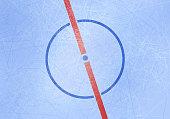 Vector ice hockey rink background Center of ice arena with central point and middle line and lines texture