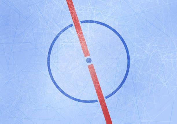 illustrations, cliparts, dessins animés et icônes de fond de patinoire de hockey sur glace vectoriel. centre de l'arène de glace avec le point central et la ligne médiane et la texture de lignes. - hockey