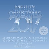 Vector ice Merry Christmas 2017 greeting card with set of letters, symbols and numbers. File contains graphic styles