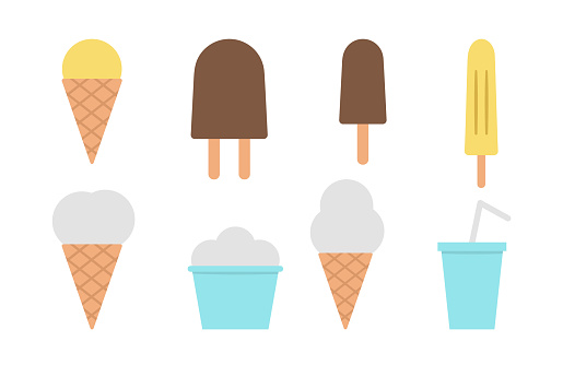 Vector ice-cream and drink clip art set. Cute collection of sweet summer dessert menu. Ice cream illustration isolated on white background. Flat style ice-cream icons collection
