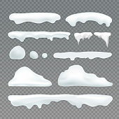 Vector icicles and snowcap elements on transparent background. Snow effects vector collection