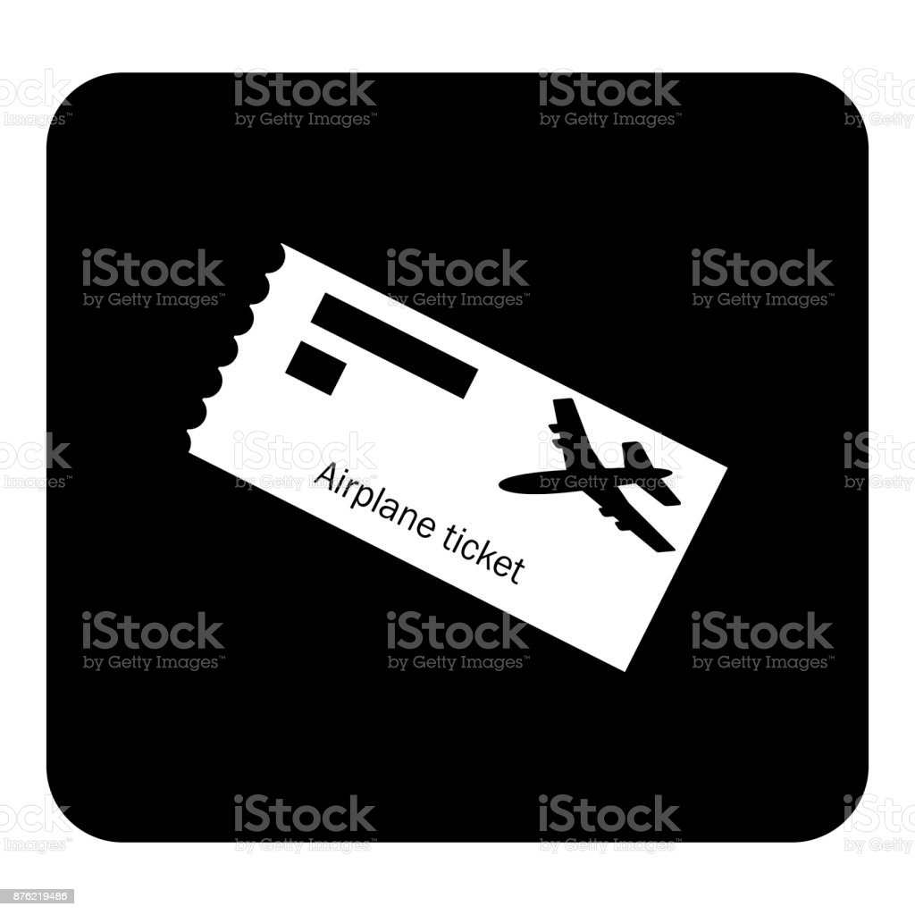 Vector icon airplane ticket.  Vector white illustration on black background vector art illustration