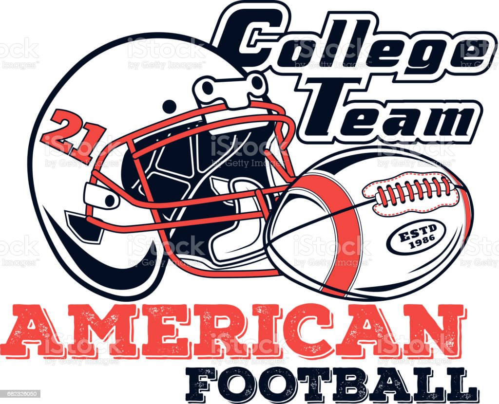 Vector icon american football college team for design, print and internet on white background vector art illustration