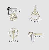 istock Vector icon and logo for italian pasta or noodles 1191441736