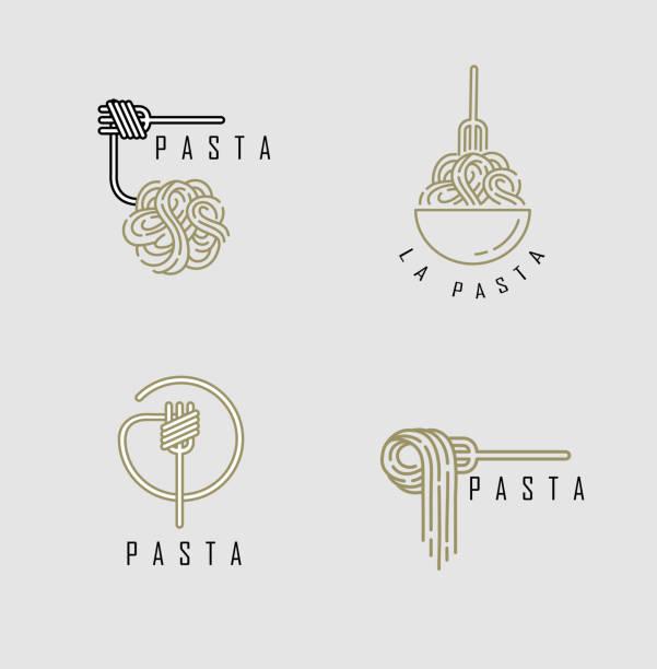 stockillustraties, clipart, cartoons en iconen met vector icoon en logo voor italiaanse pasta of noedels - eetklaar