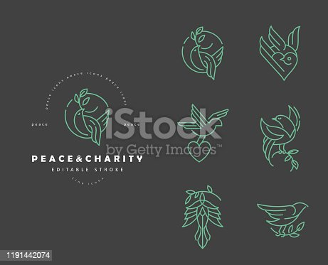 istock Vector icon and logo peace and charity. Editable outline stroke 1191442074