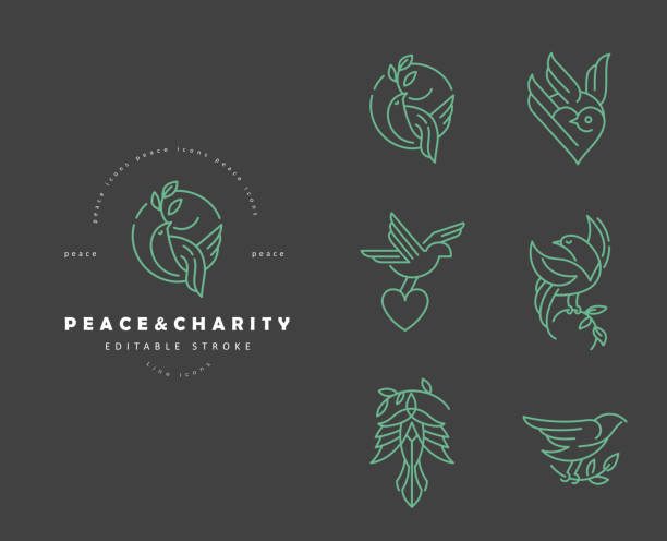 Vector icon and logo peace and charity. Editable outline stroke Vector icon and logo peace and charity. Editable outline stroke size. Line flat contour, thin and linear design. Simple icons. Concept illustration. Sign, symbol, element. diving into water stock illustrations