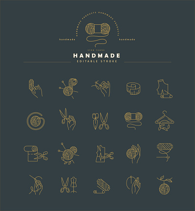Vector icon and logo sewing and handmade. Editable outline stroke