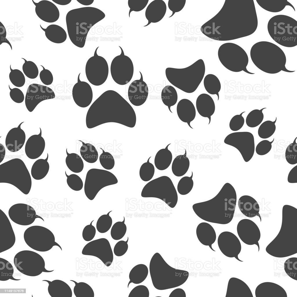 Vector icon animal paw imprint. Paw illustration seamless pattern on...