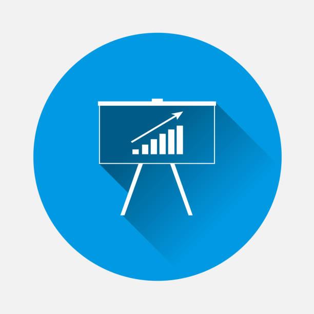 vektor-symbol-plakatwand mit grafische darstellung auf blauem hintergrund. flache bild business tafel mit langen schatten. schichten zur einfachen bearbeitung abbildung zusammengefasst. für ihr design. - standlautsprecher stock-grafiken, -clipart, -cartoons und -symbole