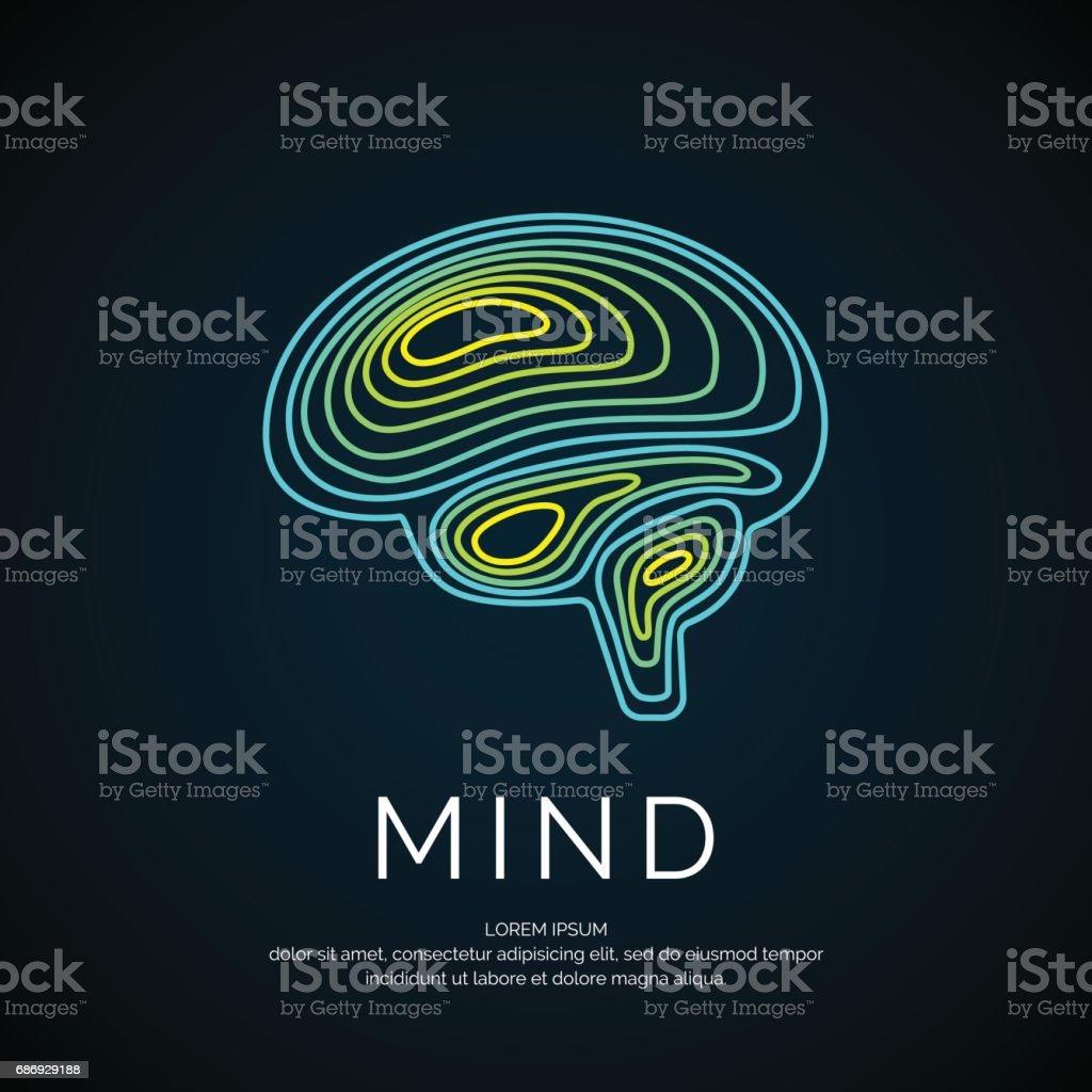 Vector icon brain color silhouette vector art illustration