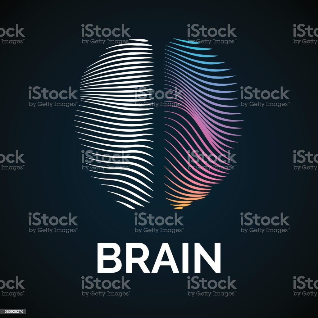 Vector icon brain color silhouette vector art illustration