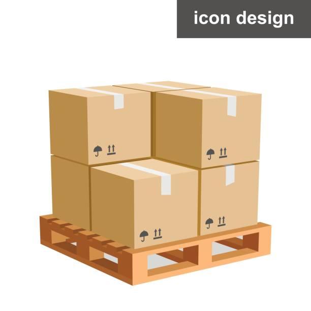 stockillustraties, clipart, cartoons en iconen met vector pictogram lading dozen pallet - pallet