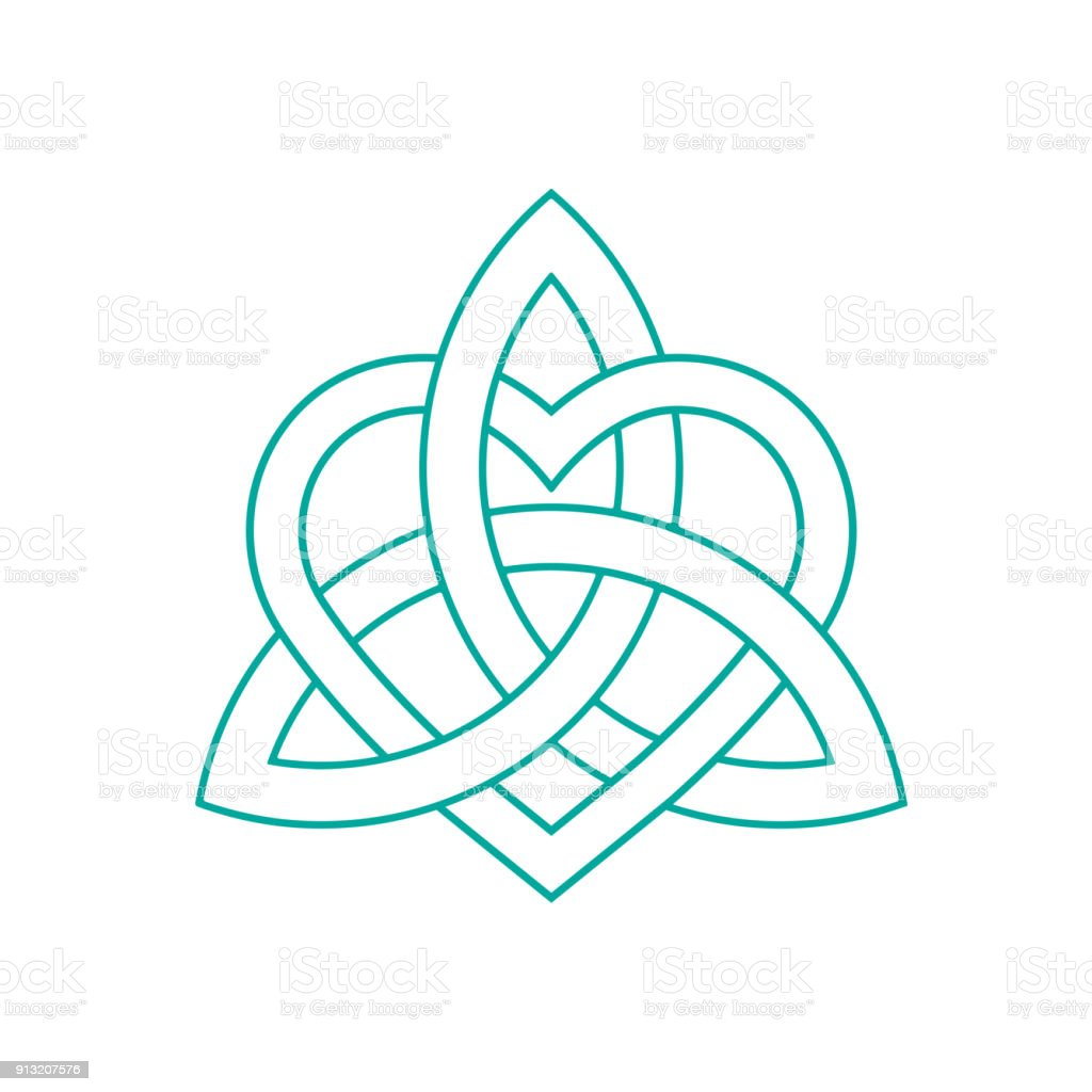 Vector Icon Celtic Knot Triquetra Cross Or Trinity Symbol With Heart