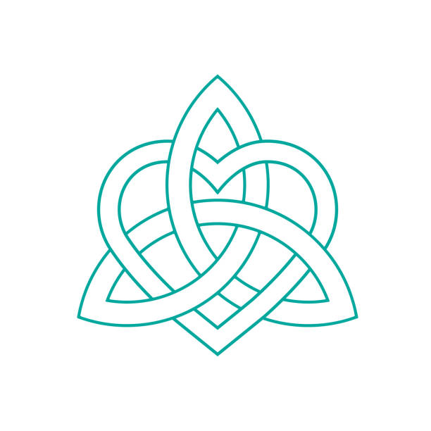 Vector icon: Celtic knot, triquetra cross or Trinity symbol with heart shape. Gaelic or Celtic medieval style knotwork of Holy Trinity isolated. Vector icon: Celtic knot, triquetra cross or Trinity symbol with heart shape. Gaelic or Celtic medieval style knotwork of Holy Trinity isolated. celtic knot stock illustrations