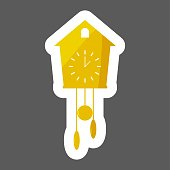 Vector icon  clock  with cuckoo colored sticker Home Appliances. Layers grouped for easy editing illustration.  For your design.