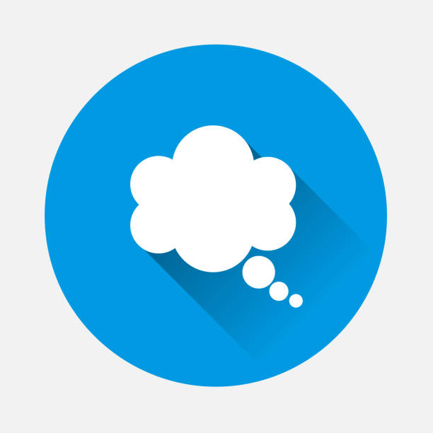 illustrazioni stock, clip art, cartoni animati e icone di tendenza di vector icon cloud conversation on blue background. flat image cloud of speech with long shadow. layers grouped for easy editing illustration. for your design. - dream