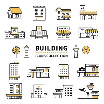 Vector icon collection of commercial facilities.