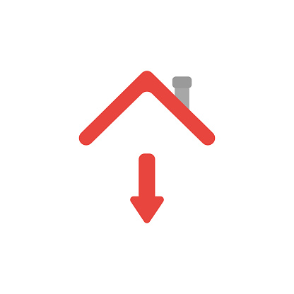 Vector icon concept of arrow moving down under house roof