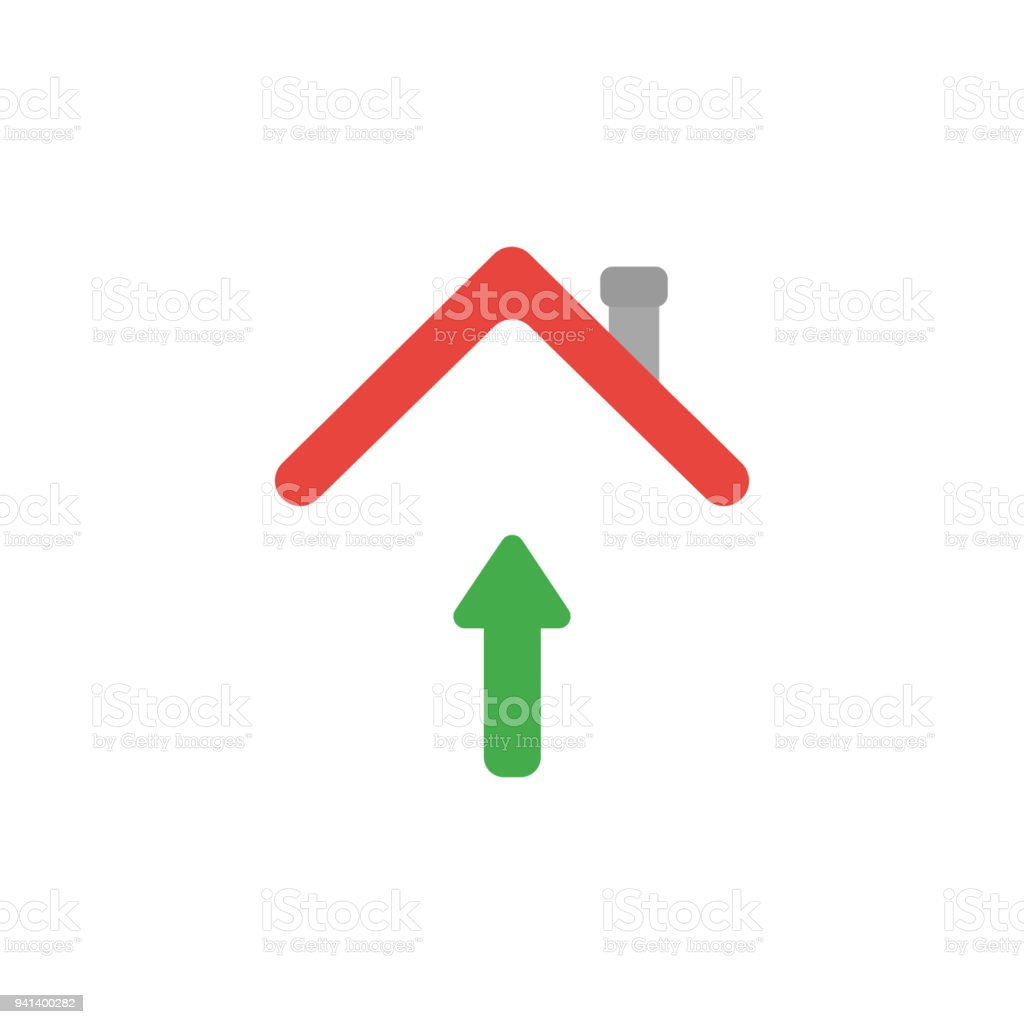 Vector icon concept of arrow moving up under house roof vector art illustration