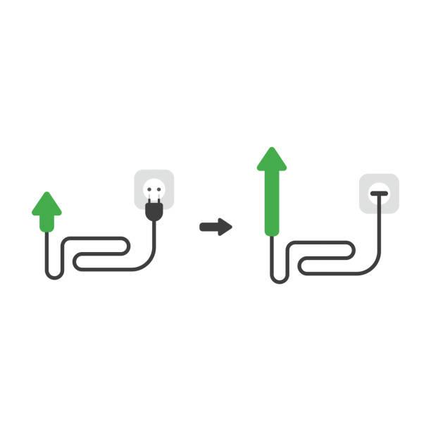 Vektorsymbol Konzept des Pfeils mit Kabel, Stecker und in die Steckdose gesteckt und nach oben bewegt – Vektorgrafik