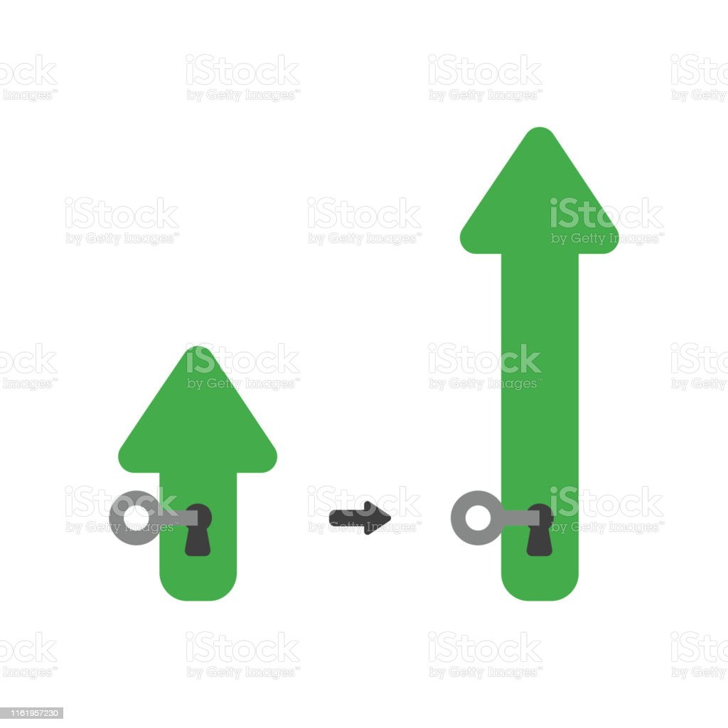 Vector illustration icon concept of arrow with key into keyhole and...