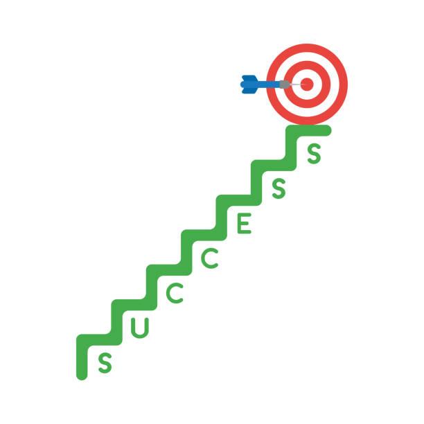 Vektor-Ikone-Konzept von Bullen Auge und Dart in der Mitte auf Erfolgstreppe – Vektorgrafik