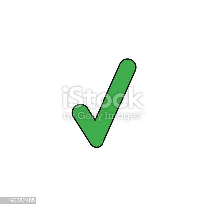 Vector illustration icon concept of check mark. Colored and black outlines.
