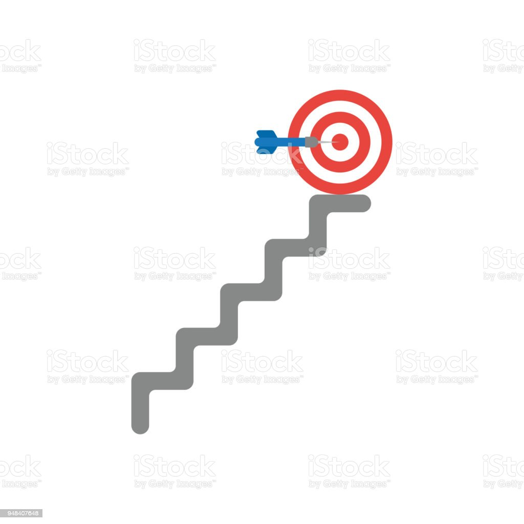 Vector icon concept of dart in the center of bulls eye at top of the stairs vector art illustration