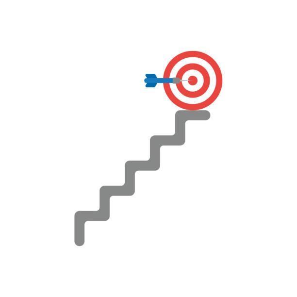 Vektor-Symbol-Konzept der Pfeil in der Mitte des bullseye am oberen Ende der Treppe – Vektorgrafik