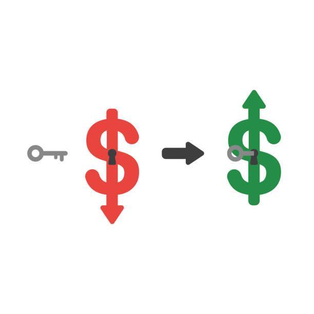 Vektor-Symbol-Konzept des Dollar-Pfeils bewegt sich nach unten mit Schlüsselloch und Schlüssel entsperren und nach oben bewegen – Vektorgrafik