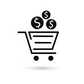 istock Vector icon concept of dollar money coin over shopping cart. 1283213232