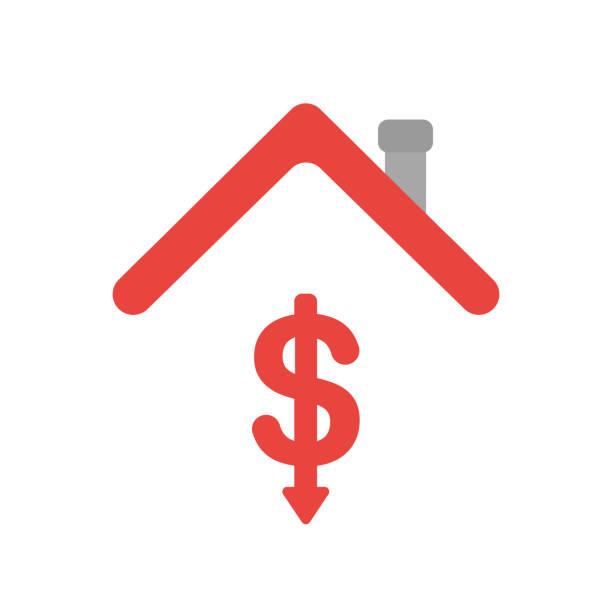 Vektor-Symbol-Konzept des Dollar-Symbolpfeils bewegt sich unter dem Hausdach – Vektorgrafik