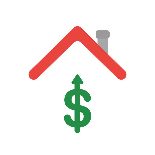 Vector icon concept of dollar symbol arrow moving up under house roof vector art illustration