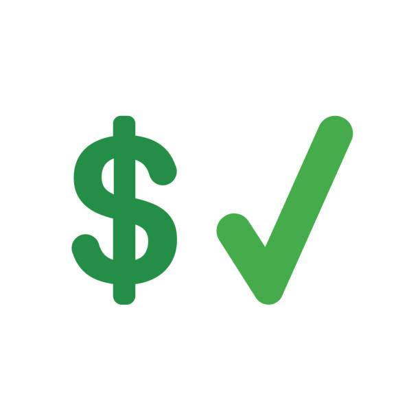 Vektorsymbol-Konzept des Dollarsymbols mit Häkchen – Vektorgrafik