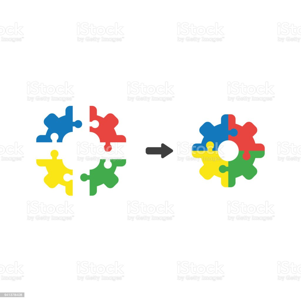 Vector icon concept of gear shaped puzzle pieces connect vector art illustration