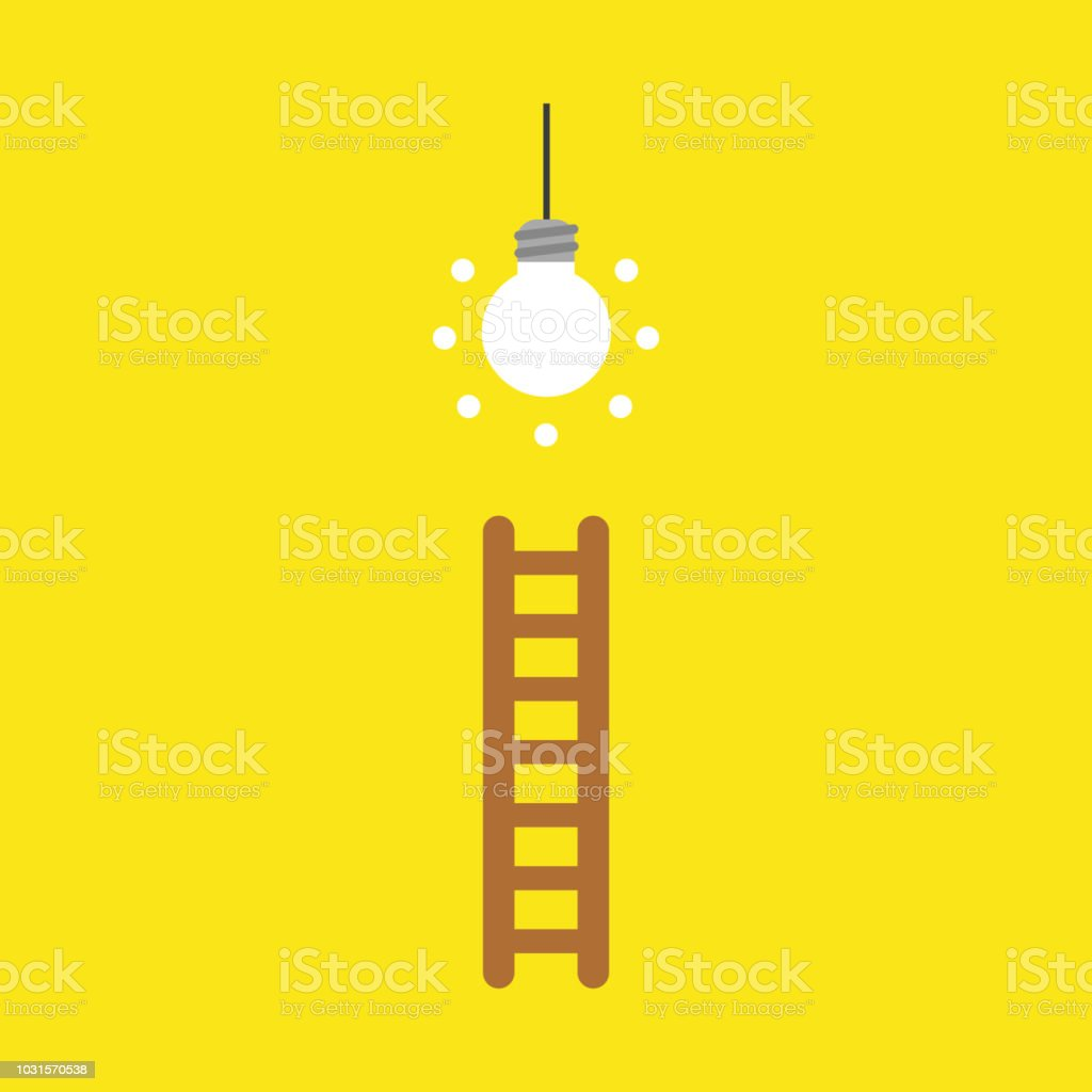 Vector icon concept of glowing light bulb and wooden ladder on yellow background vector art illustration