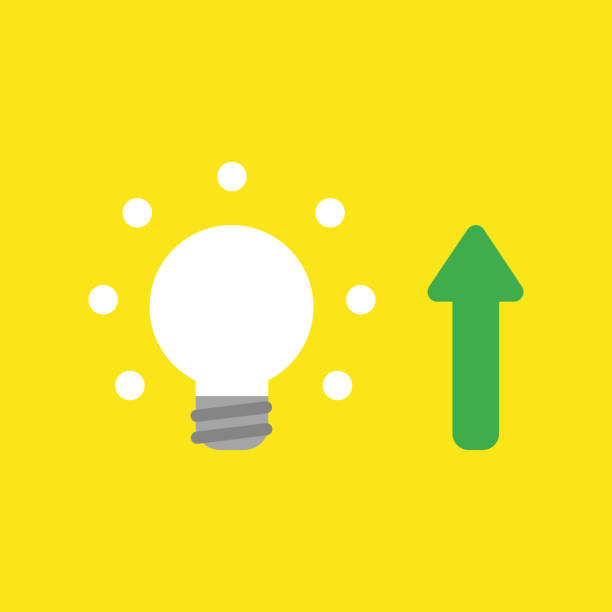 Vector icon concept of glowing light bulb with arrow moving up on yellow background vector art illustration