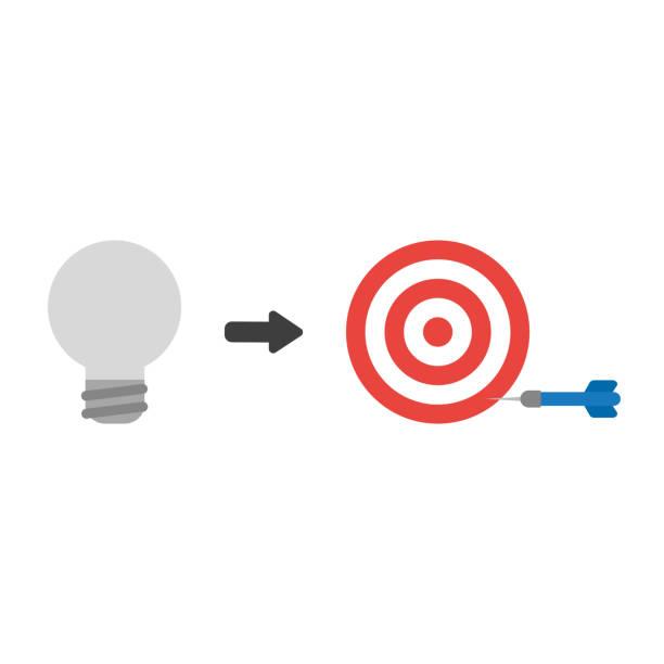 Vektor-Icon-Konzept der grauen Glühbirne mit Bullen Auge und Dart verpassen das Ziel – Vektorgrafik