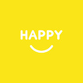 Vector icon concept of happy word with smiling mouth on yellow background