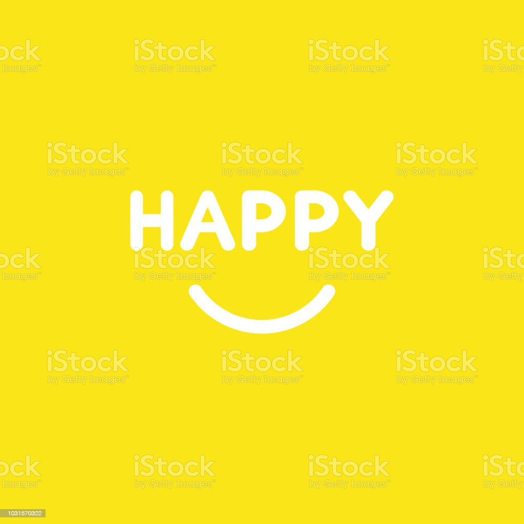 Vector icon concept of happy word with smiling mouth on yellow background vector art illustration