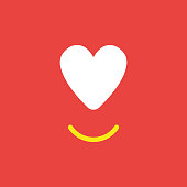 Vector icon concept of heart with smiling mouth on red background